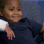 July 28, 2015: Double-hand transplant recipient eight-year-old Zion Harvey smiles during a news conference at The Children's Hospital of Philadelphia. Surgeons said Harvey, who lost his limbs to a serious infection, has become the youngest patient to receive a double-hand transplant. (AP Photo/Matt Rourke)